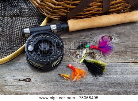 Fishing Gear On Rustic Wood