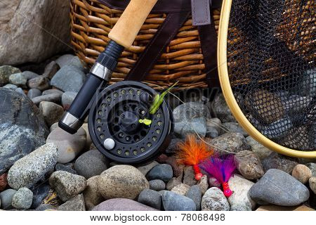 Fishing Gear On River Bed Rocks