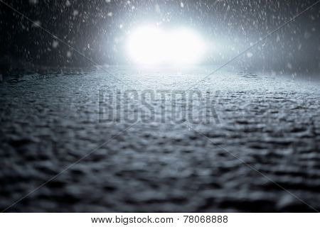 Winter Driving - Snowy Foggy Road at Night