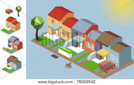 Sunny isometric environment. vector illustration