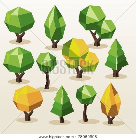 Set Tree Isometric. vector illustration