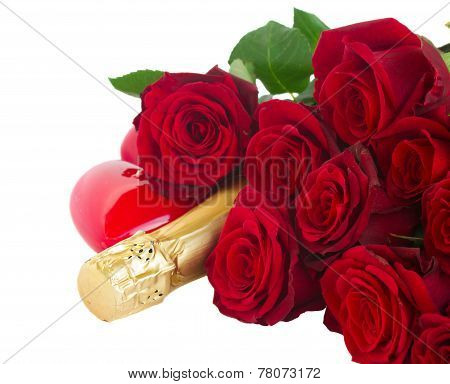 Valentine's day  dark red  roses and hearts