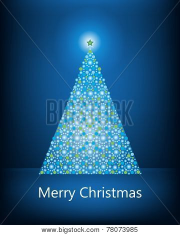 Christmas tree  of pretty blue   baubles star topper