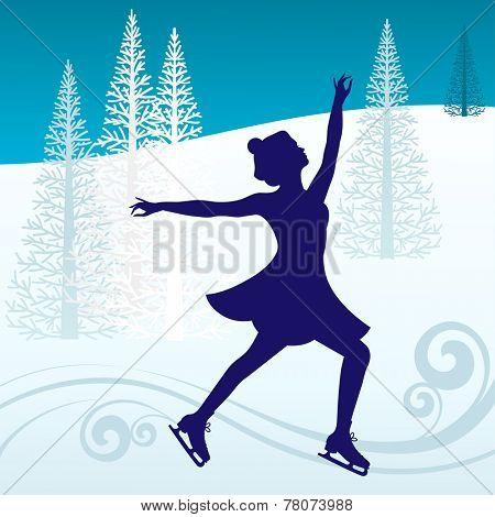 Girl skating on outside rink