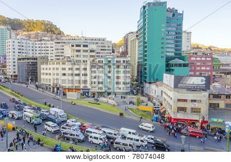 LA PAZ, BOLIVIA, MAY 8, 2014: People gather on Plaza San Francisco. View from the tower of  Basilica  San Francisco.