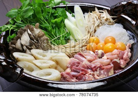 japanese winter cuisine, kritanpo nabe with hinaizidori, chicken hot pot