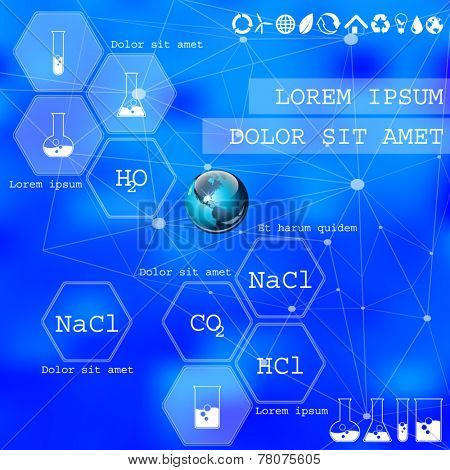 Chemical. Vector web and mobile interface info graphic template. Flat corporate website design. Multifunctional media background. Editable. Options, Icon, Banner. Chemistry and science concept.