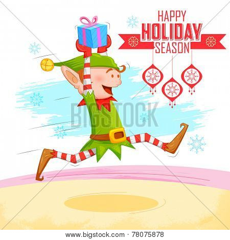 illustration of Elf distributing Christmas gift