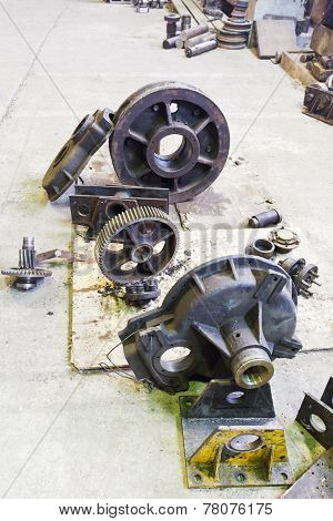 Details Of Disassembled Engine In Workshop