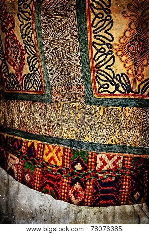 Old Photo With Traditional Romanian Folk Costume. Detail