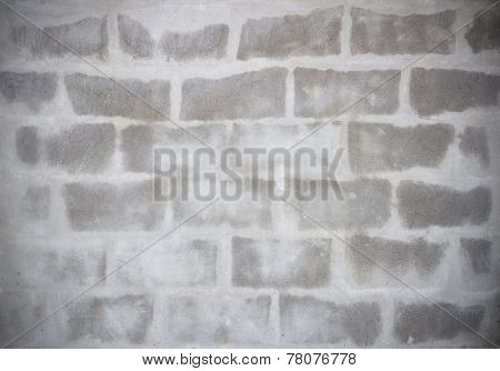 Grey Brick Is Appear From Cement Wall, Texture