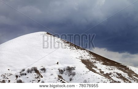 Off-piste Slope And Overcast Gray Sky
