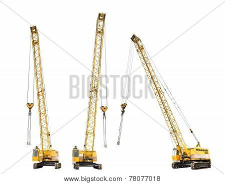 Set Of Construction Yellow Crawler Cranes Isolated