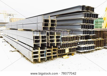 Steel Girders In Outdoor Warehouse