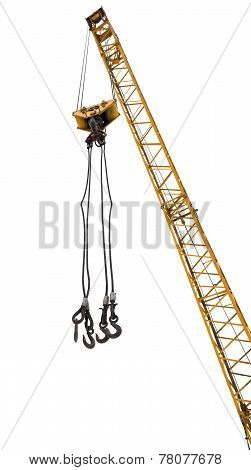 Crane Boom With Lifting Hooks Isolated On White