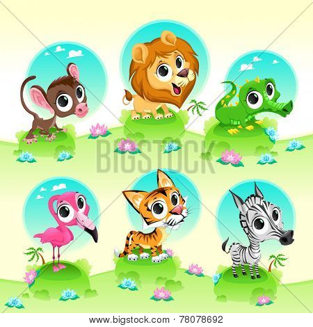 Funny wild animals with background. Cartoon vector illustration