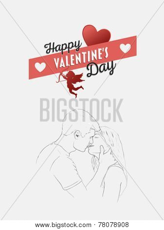 Digitally generated Happy valentines day vector with kissing couple