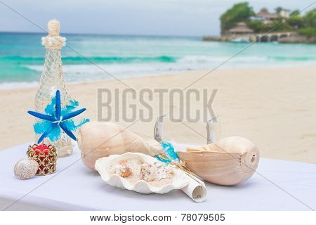 wedding decorations, wedding table for beach outdoor wedding ceremony in tropics