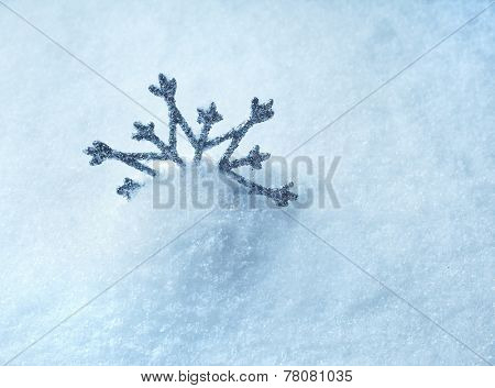 Blue Clear Cristal Snow Surface With One Snowflake