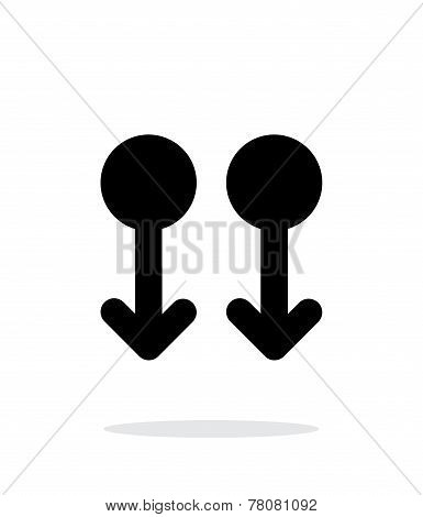 Two Finger drag down gesture abstract icon.