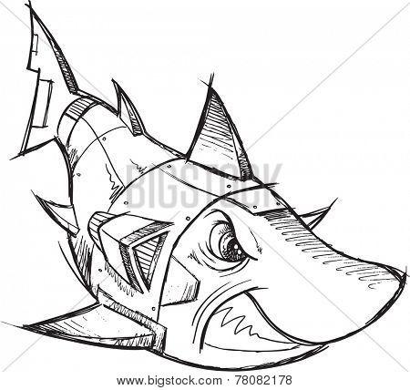 Cyborg Robot Shark Sketch Vector Illustration Art