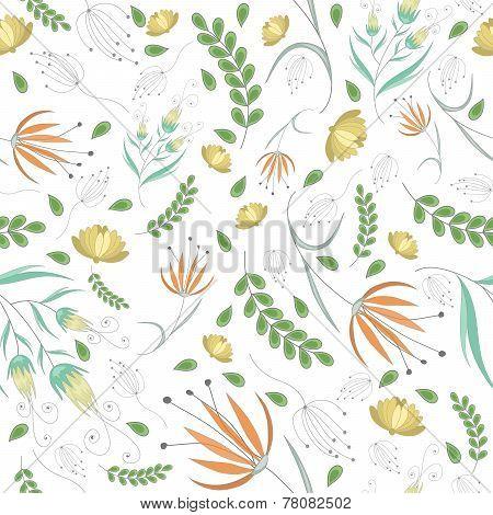 Vintage flowers white pattern