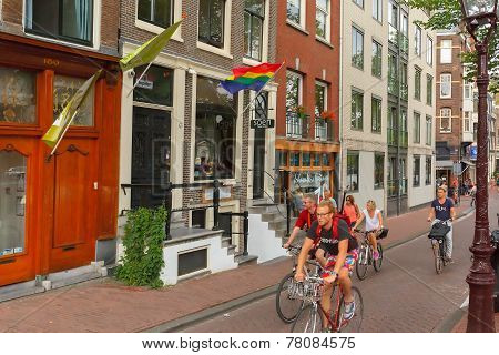 Cyclists On The Street In Amsterdam