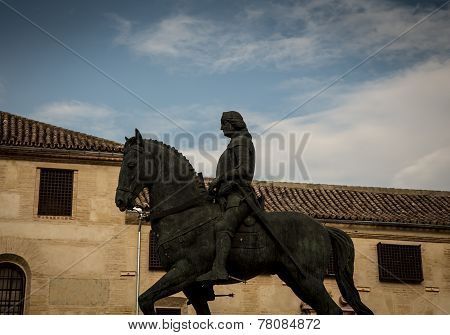 horse and rider statue