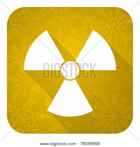 radiation flat icon, gold christmas button, atom sign