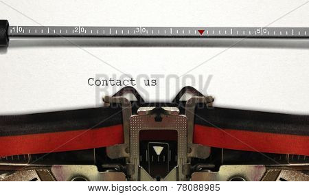 Typewriter Close Up With Contact Us