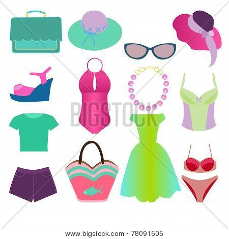 Collection Of Summer Clothing Fashion Style - Illustration
