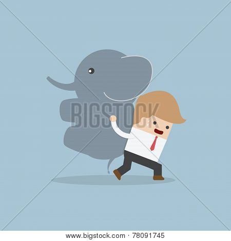 Businessman Carrying Elephant, Leadership Concept