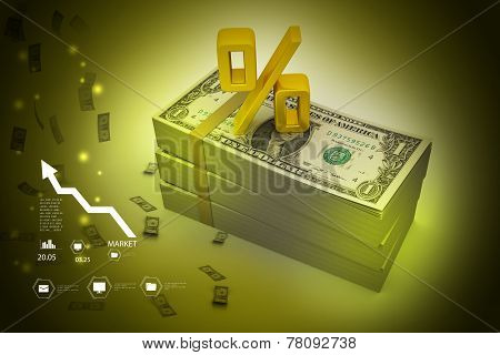 Dollar notes with percentage sign