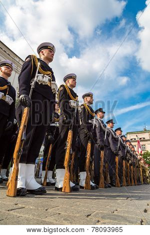 Ssoldiers In A Historical  Part Of Krakow