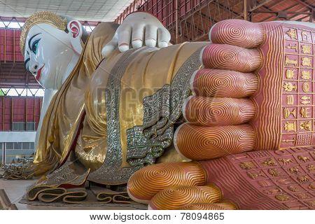 Chaukhtatgyi Reclining Buddha Image. In Yangon Myanmar.