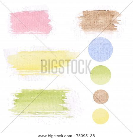 Set of watercolor hand drawn brush blobs, white background. Vector pastel color design pastel color