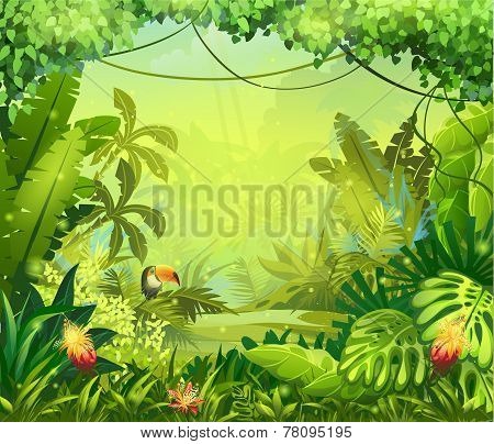 llustration with vector flowers and jungle toucan