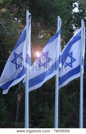 Three Parallel Flags of Israel