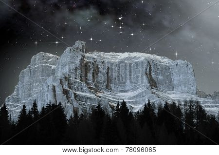Dolomites In A Starry Night