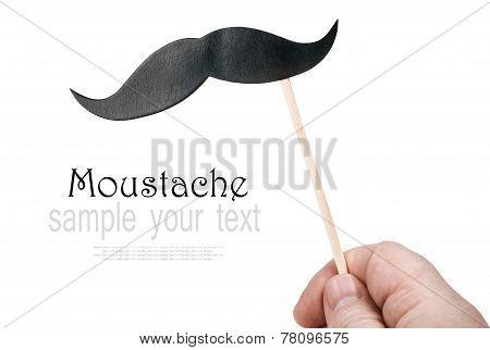 Mustache Of Paper In His Hand