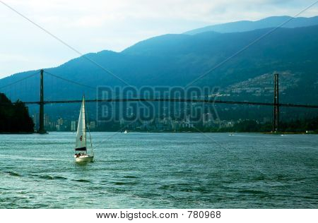 Boat & Lions Gate bridge