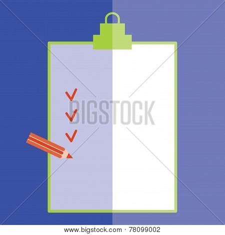 Forms with pencil and Checklist on blue background. Flat style. vector