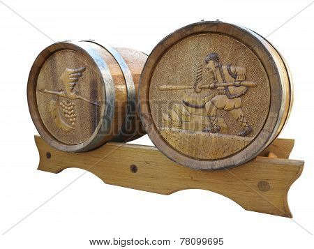Two Wooden Barrel With Bass Relief. Isolated On White