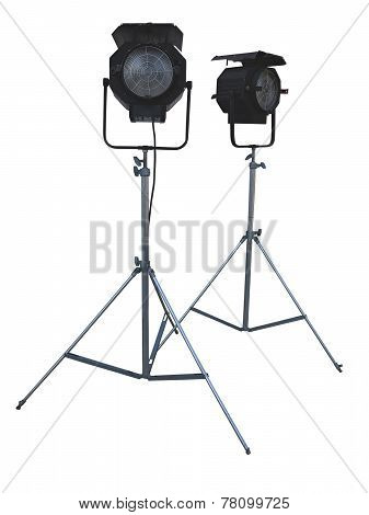 Studio Spotlight Lighting Equipment Isolated On White