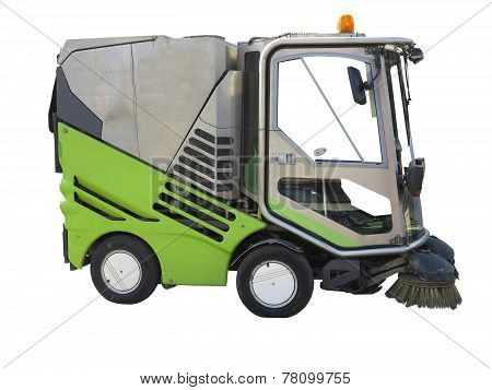 Green Street Sweeper Machine Isolated On White Background
