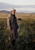 picture of mongolian  - Mongolian milking man standing in a scenic view of the field - JPG