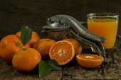 pic of juicer  - Still Life orange patterned on old wood and antique juicer - JPG