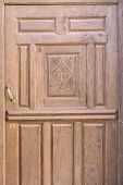 picture of marquetry  - Religious decorated old wooden door - JPG