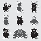stock photo of gobbler  - farm animals simple stickers black and gray set eps10 - JPG