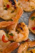 picture of tiger prawn  - Skewered Tiger Prawns with chilli pepper - JPG